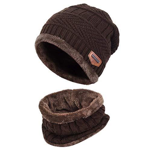 Cappello Uomo Invernali Beanie in Maglia con Sciarpa, Cappello Sciarpa Uomo, 2 pezzi Cappello da Sci all'aperto e Set Sciarpa Teschio Lavorato a Maglia con Fodera in Pile (Caffè)