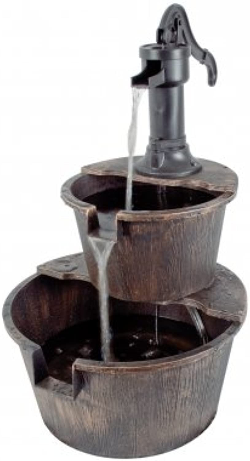 2 Tier Barrel Solar Powered Water Feature with Traditional Hand Pump