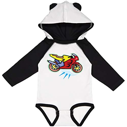 inktastic Crotch Rocket Long Sleeve Creeper 6 Months White & Black W Ears 99f
