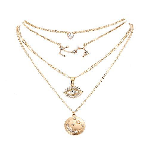 Xynhed gouden kleur sterrenbeeld liefde hart kristal ster maan hanger halsketting sieraden accessoires