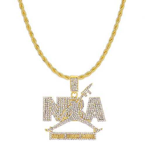 HH Bling Empire Mens Iced Out Hip Hop Silver Gold Artificial Diamond NBA Basketball Related Pendant cz Tennis Chain Necklace 22 Inch (NBA-White -Gold, with Rope)