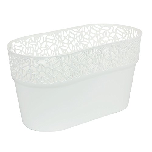Ovale cache-pot NATURO plastique romantique style, blanc