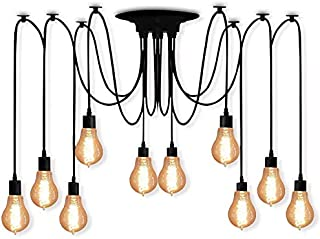 XIUDI 10 Arms Metal Pendant Lights,Industrial Ceiling Spider Lamp Fixture,Home DIY E26 Edison Bulb Chandelier Lighting,Coffee Shop Dining Living Room Retro Chic Drop-Light (78.7in Wire)