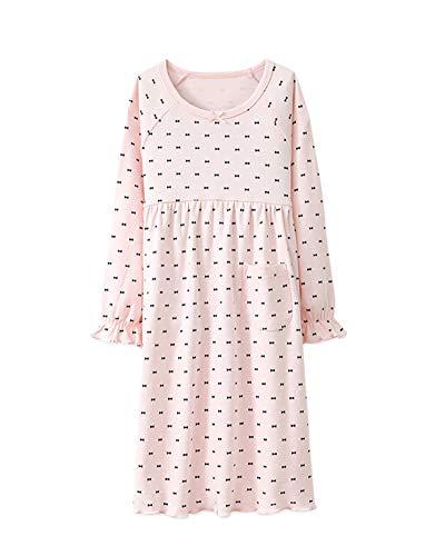 DianShaoA Mädchen Romantisches Nachtwäsche Langarm Vintage Tupfen Drucken Mit Rüschen Schlafanzug Pink 140