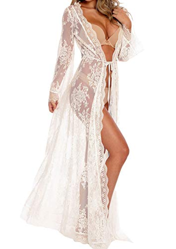 Women Sexy Long Lace Dress Sheer Gown See Through Lingerie Kimono Robe (White, One Size)