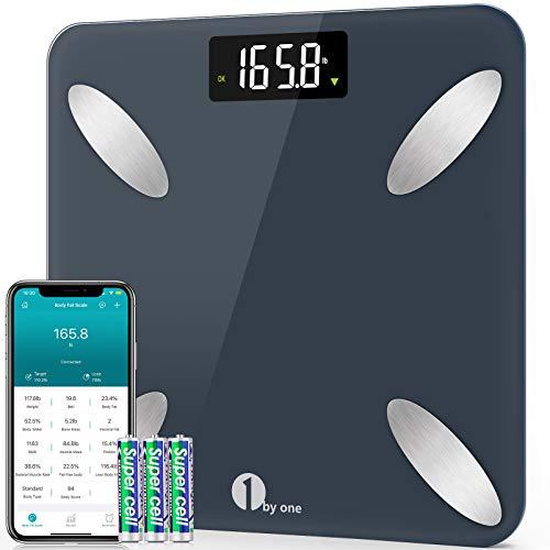 Báscula Digital Corporal Para, 1 BYONE Báscula Bluetooth Inteligente con App, Electronic Analog Scale con 14 Mediciónes de Peso IMC Visceral e Muscular,180KG, azul pacífico