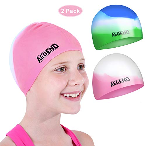 aegend Youth Swim Cap (Age 5-10), 2 Pack, Pink & Green