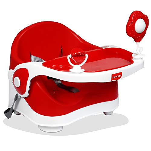 LuvLap Springdale 2 in 1 Feeding Chair & Booster Seat, Portable (Red)