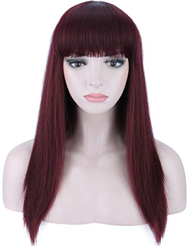 Kalyss Silky Wine Red Synthetic Wig with Highlights Natural Looking Long Straight Heat Resistant Hair Wig with Hair Bangs for Women