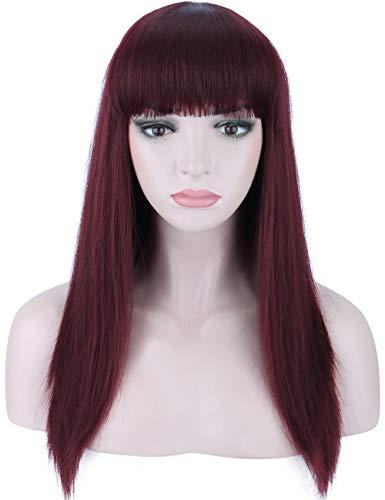 """Kalyss 22"""" schwarz Kirsche lange glatte gerade Haar für Frauen hitzebestädige Yaki synthetische Haar weibliche Perücke mit Pony(99J)"""