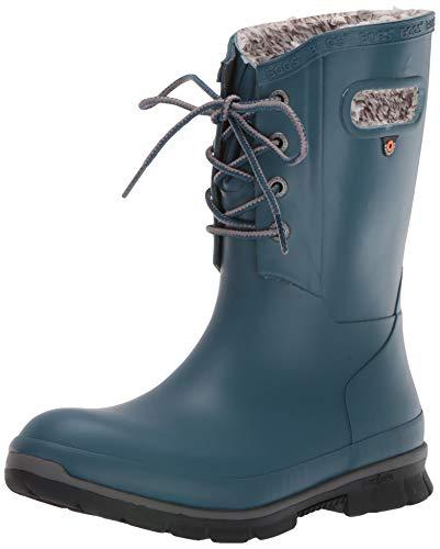 BOGS Women's Amanda Plush Lace Up Waterproof Insulated Rain Boot, Legion Blue, 11 M US