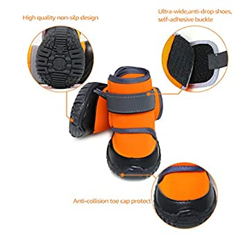 JiAmy Chaussures pour Chien Bottes imperméables pour Chien Snow Dog Booties Paw Protection avec Semelle antidérapante, pour Basset Hound, Dalmatien, Border Collie, Husky sibérien