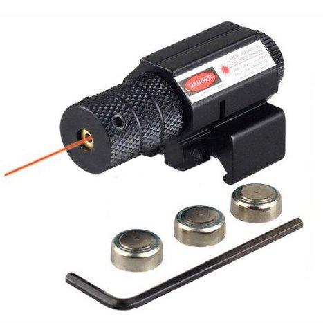 DELTA Mirino Laser Rosso in Metallo per Slitta da 21 e 11 mm Tactics da Softair AC12335, per Fucile e Pistola a Pallini, Punto Rosso Classe 2