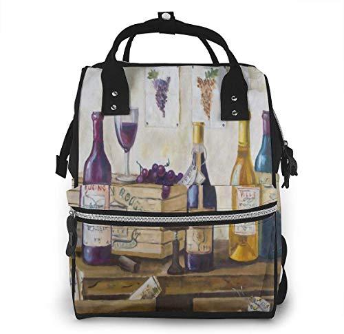 Houten fles wijn druif grote capaciteit multifunctionele mama rugzak grote capaciteit landscap licht baby luier zakken