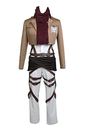 Daiendi Shingeki no Kyojin Attack on Titan Mikasa Ackerman Cosplay Costume Adulto EU Taglia Marrone Femme: XL