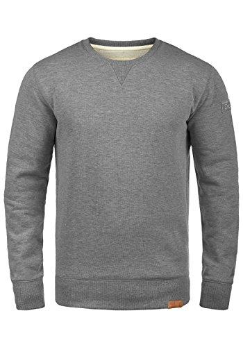 !Solid Trip O-Neck Herren Sweatshirt Pullover Pulli Mit Rundhalsausschnitt Und Fleece-Innenseite, Größe:XXL, Farbe:Grey Melange (8236)