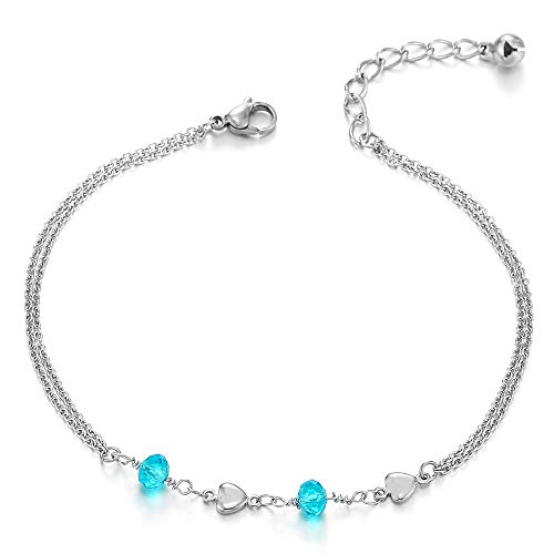 COOLSTEELANDBEYOND Steel Two-Row Link Chain Anklet Bracelet with Charms of Blue Crystal Beads and Hearts, Adjustable