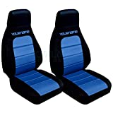 Totally Covers Compatible with 1990-2000 Mazda MX-5 Miata 2-Tone Seat Covers with Your Name/Text: Black and Blue (21 Colors) Bucket