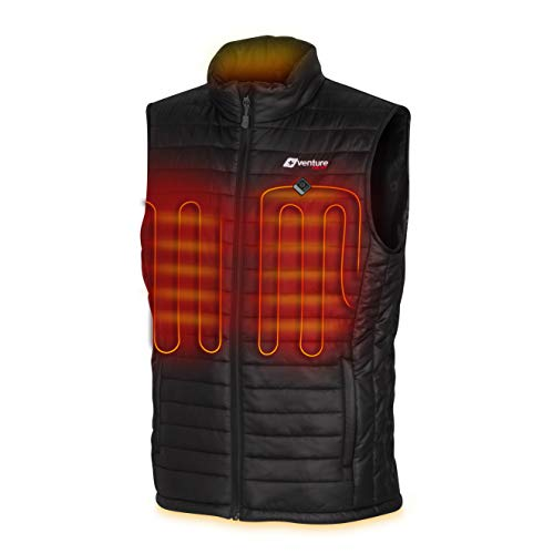 Venture Heat Men's Heated Vest with Battery Pack - Insulated Electric Jacket Puffer Layer, Roam 2.0 (L) Black
