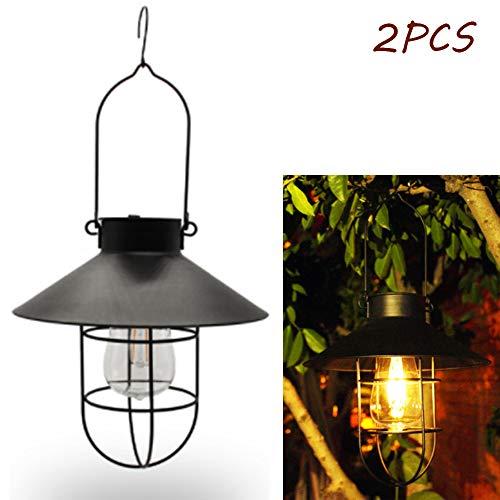 CBY Solar Lantern, Outdoor Hanging Waterproof Retro Metal Solar Garden Light Bulb Decoration Terrace Backyard (2PCS),Black