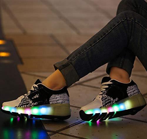 qmj 7 Farben Blinkende LED Doppelräder Technische RollschuhschuheSport Outdoor Cross Trainer Vibration Blinkende Gymnastik Turnschuhe,Black-34