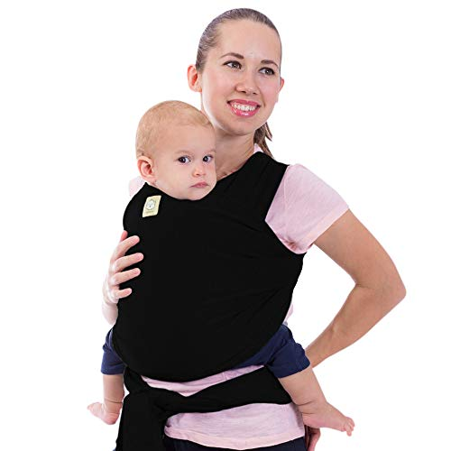 Baby Wrap Carrier - All in 1 Stretchy Baby Sling - Ergo Carrier Sling - Baby Carrier Wraps - Baby Carriers for Newborn, Infant - Baby Holder Straps - Baby Slings - Baby Sling Wrap (Trendy Black)
