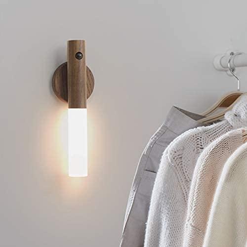 Lámpara de pared de madera de melocotón simple Smart Pequeña Noche Luz USB Cinturón de carga Base de almacenamiento Lámpara Lámpara Lámpara Inducción Armario Pared de pared
