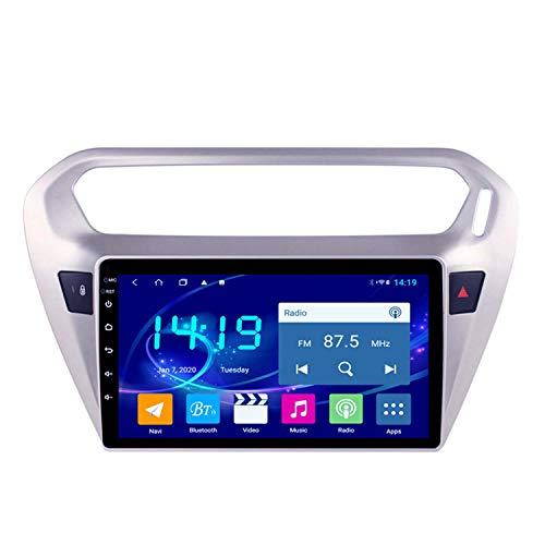 BBGG Navegación GPS estéreo para automóvil Android 9 Sat, teléfono Manos Libres Bluetooth con Video invertido/Radio DVD/USB/SD/Video, navegador GPS 4G + 64G Compatible con Peugeot 301 (2014-2018)