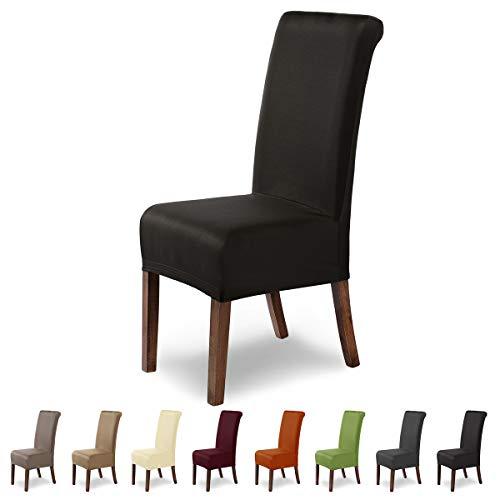 SCHEFFLER-Home Marie 2er Set Stuhlhussen Stretch, Stuhlabdeckung elastisch, Husse Spannbezug mit Fleckschutz, braun