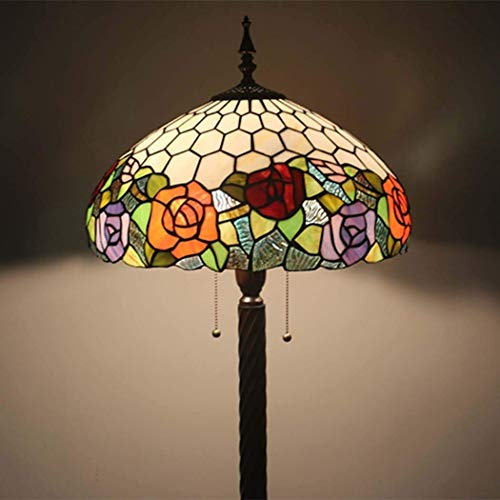 16 Inch Tiffany Style Floor Lamp Stained Glass Floor Lights Reading Standing Light for Living Room Bedroom Office, Zipper Switch, E27-2 Lights (Design : 1) (Color : 1)