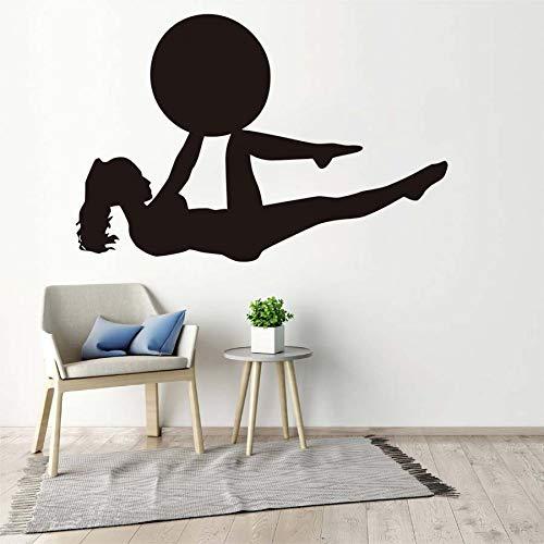 Fitness muur sticker meisje yoga oefening training muur sticker kunst verwijderbare vinyl lijm gym behang muurschildering 129x87cm