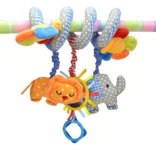 Iwinna Baby Pram Toys Spiral Activity Hanging Toys Stroller Toy Car Seat Bed Hanging Toys with Ringing Bell for 0-6 Months Baby, Boys, Girls (Colour 2)