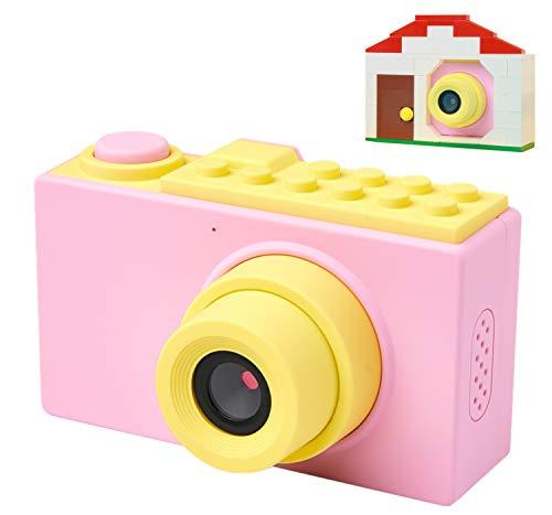 MagicSmiles Macchina Fotografica per Bambini, Doppia Fotocamera Digitale, Selfie, Videocamera HD 1080p / 8MP/ Scheda SD 16GB / LCD 2 Pollici / Zoom /Effetti/ Regalo Bambina Compleanno (Rosa_casetta)