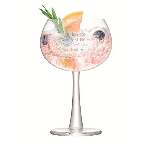 LSA Coupe de Verres Personnalisés Gravé Gin & Tonic Ballon Cocktail / Lunettes Dans Une Boîte Cadeau [425ml]