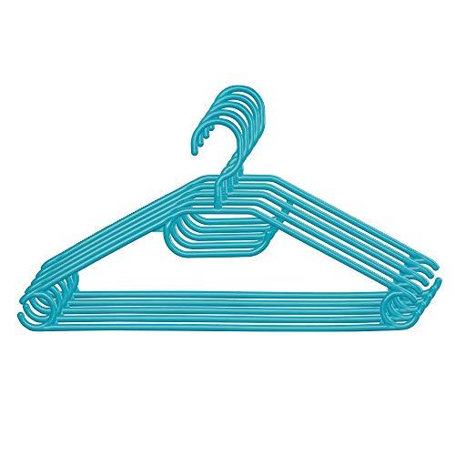 KADAX - Set di 5 grucce appendiabiti in plastica, con ganci girevoli a 360°, spalle intaccate, salva spazio, antiscivolo, per camicie, pantaloni, gonne, giacche (turchese)