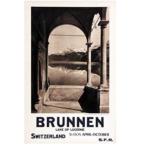 QQWER Schweiz Luzern Tourismus Poster Brunnen Klassische Wandkunst Leinwandbilder Poster Home Bar Dekor Geschenk -50X70Cmx1Pcs -Kein Rahmen