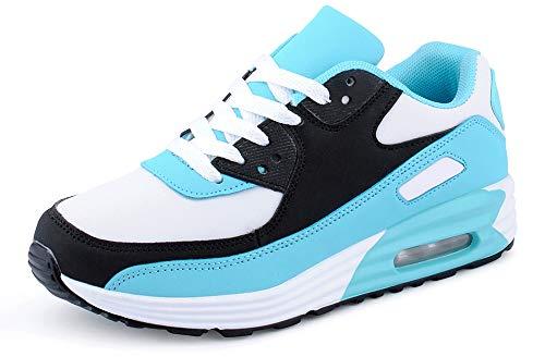 Fusskleidung Herren Damen Sportschuhe Dämpfung Neon Sneaker Laufschuhe Runners Gym Unisex Schwarz Blau Weiss EU 36