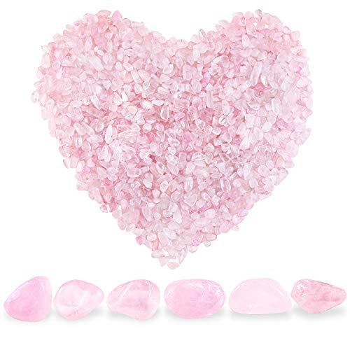 Twdrer 2lb/950g Small Natural Clear Rose Pink Tumbled Chips Crushed Stone Irregular Shaped Quartz Rock Healing Reiki Crystal Gemstone for Jewelry Making Garden Aquarium Vase Plant Decoration(Pink)