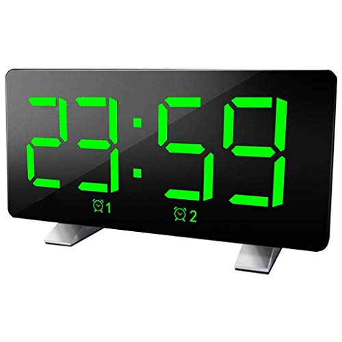 WQTT Digitale wekker Gebogen dimbaar LED-scherm Digitale klok voor Kid Senior Snooze 12 / 24H-wekker voor kantoor in de slaapkamer (Color : Green)