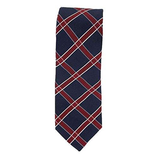 Cotton Park - Cravate 100% soie bleue marine et rouge - Homme