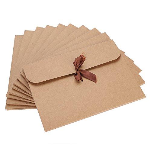 10 sobres de papel kraft reciclado para regalo, tarjetas de felicitación, boda, Navidad, cumpleaños, cinta roja, sobres de invitación, embalaje de regalo, 24 x 18 cm, color krafe taille