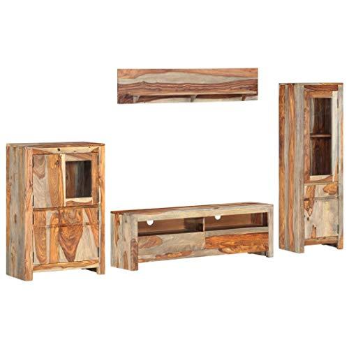 vidaXL Sheesham-Holz Massiv TV Möbel Set 4-TLG. Anbauwand Wohnwand Fernsehwand Schrankwand Wohnzimmer TV Schrank Wandregal Kommode