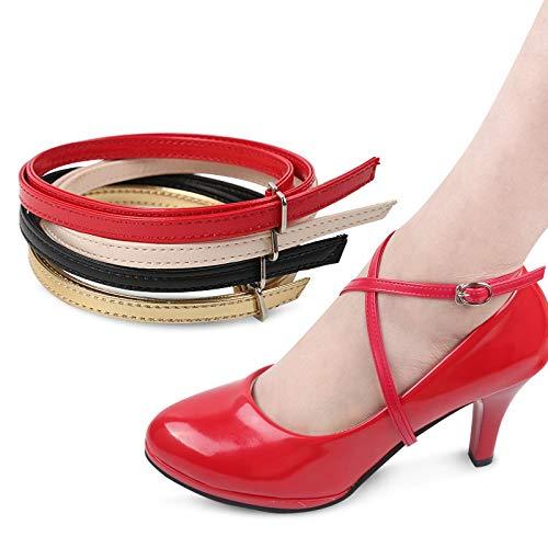 ZJDY De 58CM Cruz Correas del Tobillo Ajustable for Zapatos de tacón Alto Bandas Cordones de los Zapatos de la Correa Boda Fuera Universal (Color : Patent Silver)