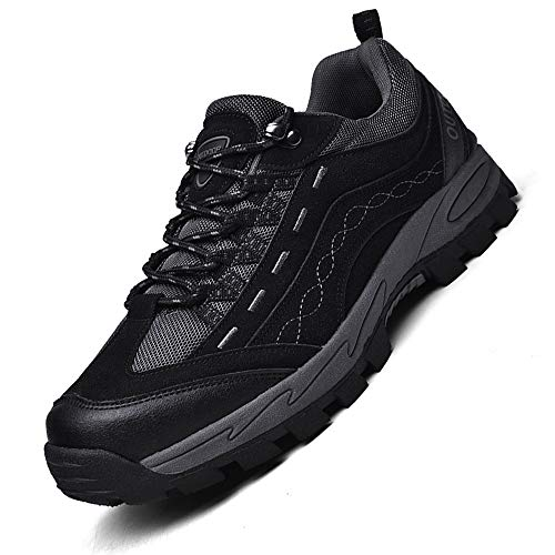K&T Herren Damen Wanderschuhe Sports Outdoor Trekking Schuhe Hiking Sneaker Leicht Atmungsaktiv Bequem Anti-Rutsch Unisex,2 Schwarz,46 EU