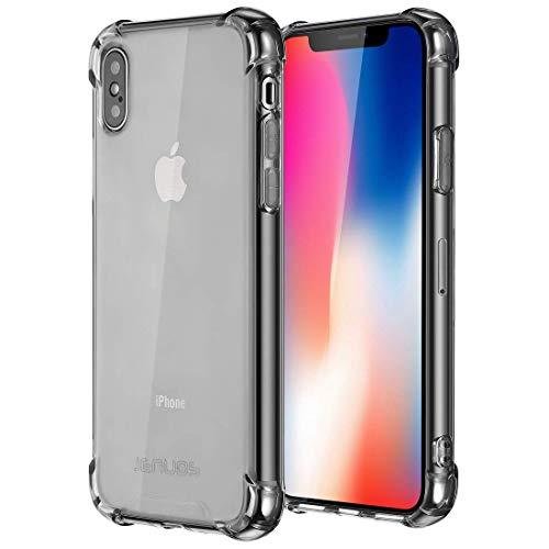 Jenuos Cover iPhone X, Cover iPhone XS, Custodia Trasparente Antiurto Paraurti Silicone Trasparente Cover TPU per Apple iPhone X/XS/iPhone 10 5.8' - Grigio (IX-TPU-GY)