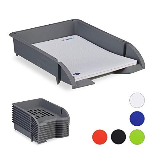 Relaxdays Ablagefächer stapelbar, 10er Set, DIN A4 Papier, Briefe, Büro, Schreibtisch, Dokumentenablage Kunststoff, grau
