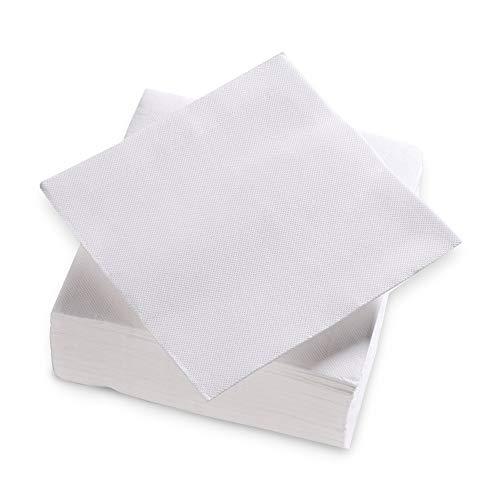Surlys - Serviettes Papier 2 Plis Couleur Blanc - Serviettes en Ouate Certifiées Ecolabel - Lot de 24 Paquets de 100 Serviettes de Table 38 x 38 cm