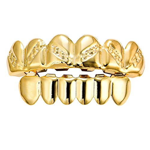 Bonarty 18K Oben Unten Dentalgrills, Zähne Grills, Hiphop Zahnschmuck Mit Zahngel - Golden