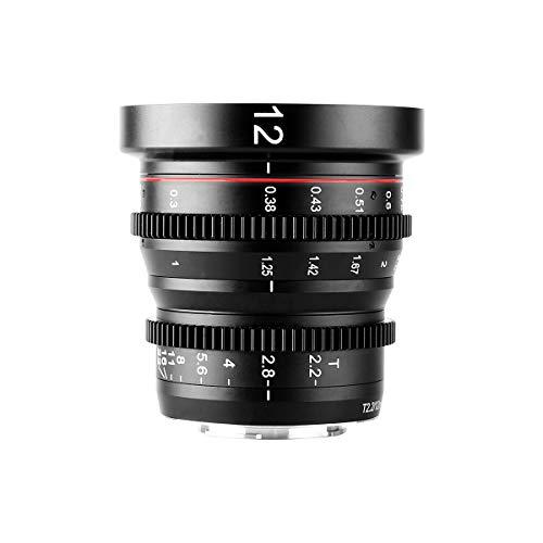 Meike 12mm T2.2 Manual Focus Wide Angle Fixed Prime Cinema Lens for M43 Micro Four Thirds MFT Mount Cameras and Cinema Camera BMPCC 4K