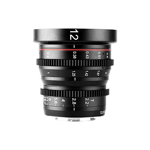 Meike 12mm T2.2 Manual Focus Wide Angle Fixed Prime Cinema Lens for M43 Micro Four Thirds MFT Mount Cameras and Cinema Camera BMPCC 4K
